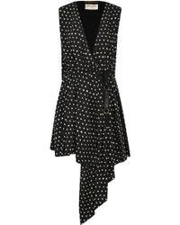 Saint Laurent - Tie-neck Polka-dot Print Chiffon Dress - Lyst