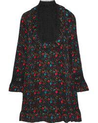 Anna Sui - Guipure Lace-paneled Floral-print Silk-blend Dress - Lyst