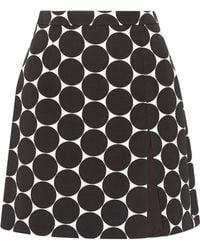 Michael Kors - Polka-dot Cotton And Silk-blend Matelassé Mini Skirt - Lyst
