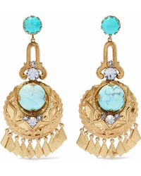 Elizabeth Cole - Woman 24-karat Gold-plated, Crystal And Stone Earrings Gold - Lyst