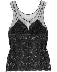 La Perla - - Edenic Tulle-paneled Macramé Lace Top - Black - Lyst