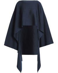 Jil Sander - Draped Wool-blend Poncho Midnight Blue - Lyst