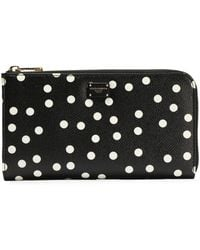 Dolce & Gabbana - Polka-dot Textured-leather Continental Wallet - Lyst