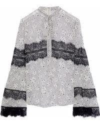 Giambattista Valli - Pussy-bow Lace-trimmed Printed Silk-chiffon Blouse - Lyst