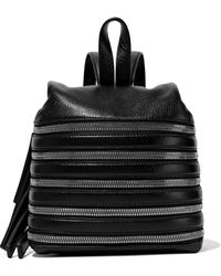 Kara - Woman Small Zip-detailed Textured-leather Backpack Black - Lyst