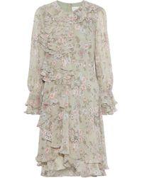 Mikael Aghal - Ruffled Floral-print Chiffon Dress Sage Green - Lyst