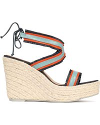 Manebí - Fringe-trimmed Color-block Wedge Espadrille Sandals - Lyst