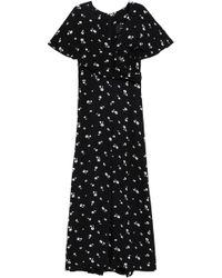 Paper London Woman Asymmetric Floral-print Crepe De Chine Slip Dress Black Size 10 Paper London 4rGuj