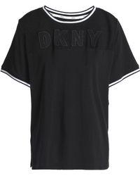 DKNY - Appliquéd Mesh-paneled Cotton-blend Jersey Pajama Top Black - Lyst