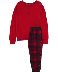 DKNY - Embroidered Checked Fleece Pyjama Set Red - Lyst