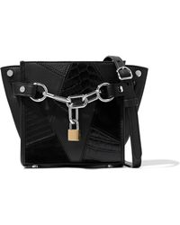 Alexander Wang - Embellished Croc-effect Leather And Suede Shoulder Bag - Lyst
