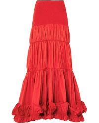 Johanna Ortiz - Woman Smocked Stretch-cotton Poplin Maxi Skirt Red - Lyst