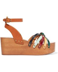 Étoile Isabel Marant Zia Textured-leather Platform Wedge Sandals