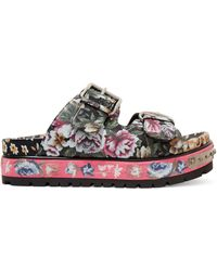 Alexander McQueen - Floral-print Leather Sandals - Lyst