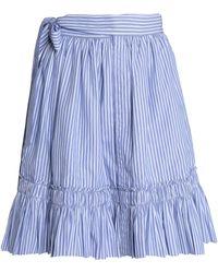 Alexis - Shirred Striped Cotton-poplin Skirt Light Blue - Lyst