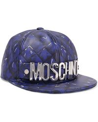 Moschino - Printed Leather Baseball Cap Royal Blue - Lyst