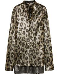 Haider Ackermann - Oversized Leopard-print Silk-blend Lamé Shirt - Lyst