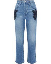 3x1 - Woman Burke Embellished High-rise Boyfriend Jeans Mid Denim - Lyst