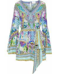 Camilla - Girl Next Door Embellished Printed Silk Crepe De Chine Playsuit - Lyst