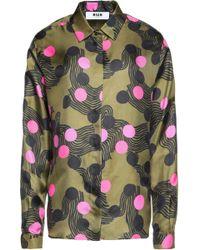 MSGM - Printed Silk-twill Shirt - Lyst