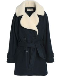 Maison Kitsuné | Double-breasted Shearling-trimmed Belted Wool-blend Coat | Lyst