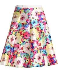 Oscar de la Renta - Pleated Floral-print Silk And Cotton-blend Faille Skirt - Lyst