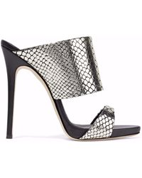 Giuseppe Zanotti - Andrea Snake-effect Mirrored-leather Mules - Lyst
