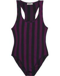 Nina Ricci - Striped Stretch-knit Bodysuit - Lyst