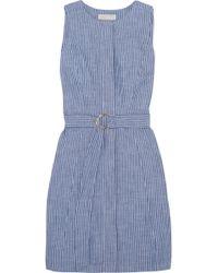 MICHAEL Michael Kors - Belted Striped Cotton-blend Chambray Mini Dress - Lyst