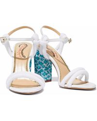 Charlotte Olympia - Cordelia Bead-embellished Leather And Terry Sandals - Lyst