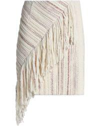Goen.J - Asymmetric Fringed Tweed Mini Skirt - Lyst