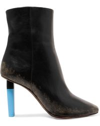 Vetements - Woman Distressed Leather Ankle Boots Black - Lyst