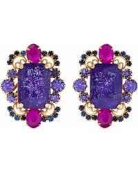 Elizabeth Cole - Woman Garner Gold-tone Crystal Clip Earrings Purple - Lyst