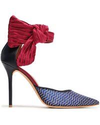 MALONE SOULIES x EMANUEL UNGARO + Emanuel Ungaro Elle 100 Satin-trimmed Glittered Mesh And Leather Pumps Royal Blue