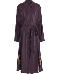 Nina Ricci - Lace-trimmed Crinkled Taffeta Midi Shirtdress - Lyst