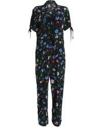 Markus Lupfer | Bow-detailed Floral-print Silk Crepe De Chine Jumpsuit | Lyst