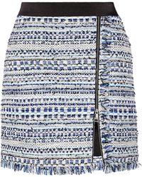Karl Lagerfeld - Satin-trimmed Fringed Metallic Tweed Mini Skirt - Lyst