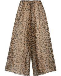 Rosamosario - Bossie Bye Leopard-print Silk-organza Pajama Pants - Lyst