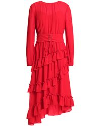 Mikael Aghal - Asymmetric Ruffled Crepe Dress - Lyst
