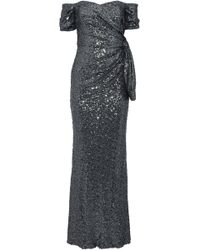 Badgley Mischka - Woman Off-the-shoulder Knotted Sequined Tulle Gown Charcoal - Lyst