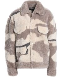 Rag & Bone - Woman Printed Shearling Coat Neutral - Lyst