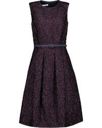 Oscar de la Renta - Belted Metallic Silk-jacquard Dress - Lyst