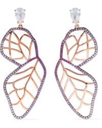 Noir Jewelry - Woman Rose Gold-tone Crystal Earrings Rose Gold - Lyst