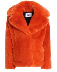 MSGM - Woman Faux Fur Coat Bright Orange - Lyst