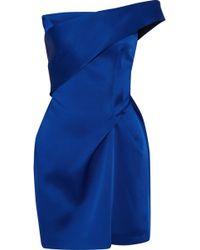 Roland Mouret - Carleton One-shoulder Gathered Satin Mini Dress - Lyst