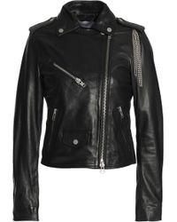 Muubaa - Chain-embellished Leather Biker Jacket - Lyst