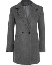 Lot78 - - Crombie Leather-trimmed Wool-blend Felt Coat - Dark Grey - Lyst