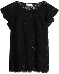 Claudie Pierlot - Ruffled Cotton-blend Corded Lace Top - Lyst