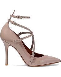Valentino - Love Latch Eyelet-embellished Matte And Patent-leather Pumps - Lyst