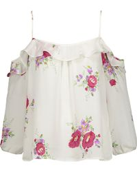 Joie | Birtha Cold-shoulder Ruffled Floral-print Silk Crepe De Chine Top | Lyst